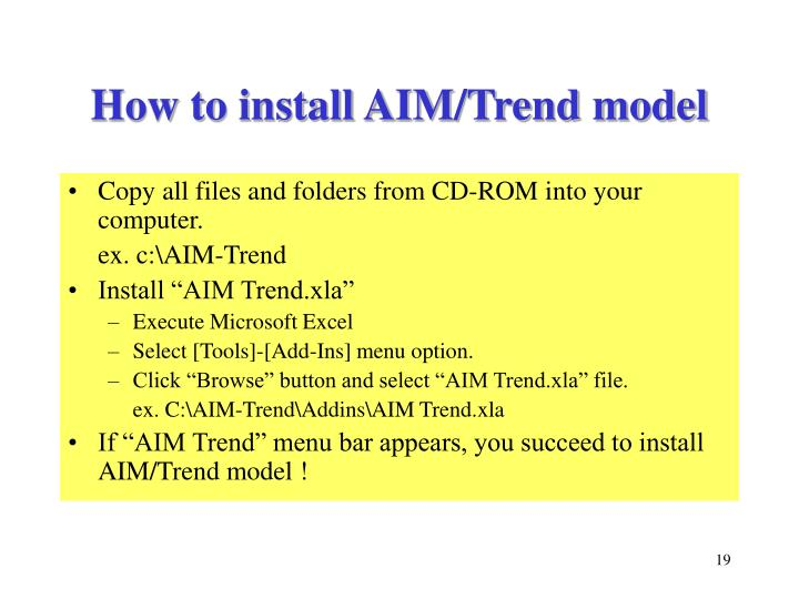 How to install AIM/Trend model