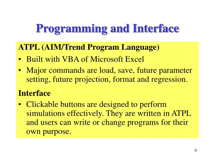 Programming and Interface