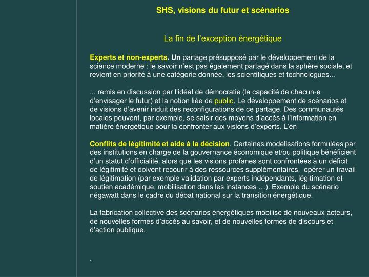 SHS, visions du futur et scénarios