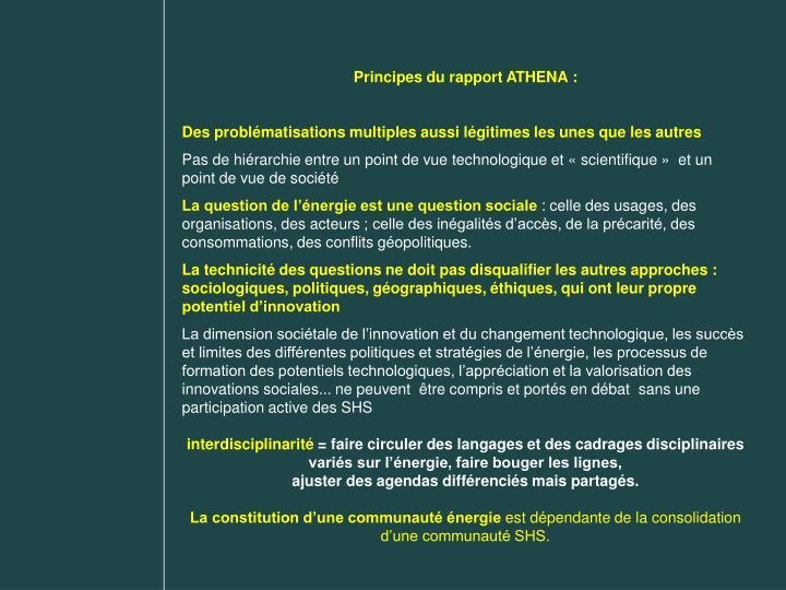 Principes du rapport ATHENA: