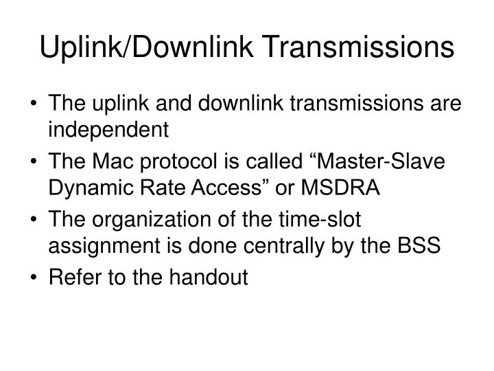 Uplink/Downlink Transmissions