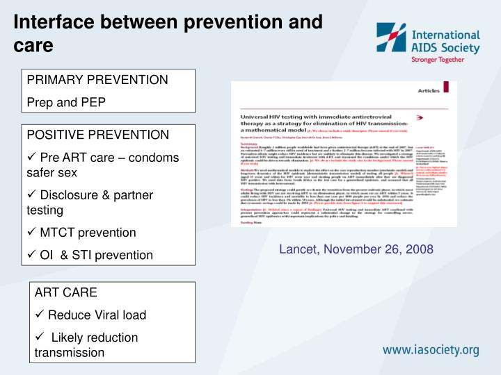 Interface between prevention and care