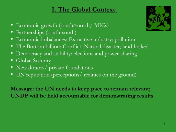 I. The Global Context: