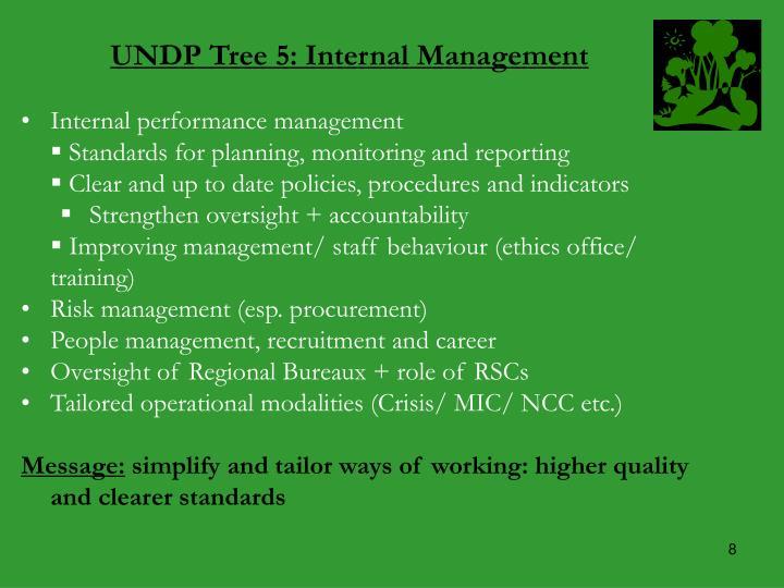 UNDP Tree 5: Internal Management