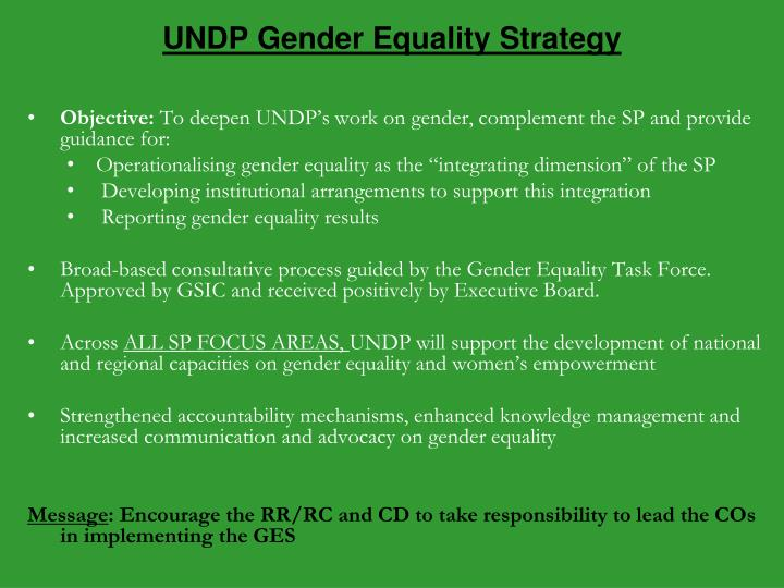 UNDP Gender Equality Strategy