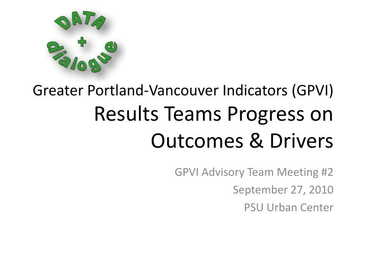 Greater portland vancouver indicators gpvi results teams progress on outcomes drivers