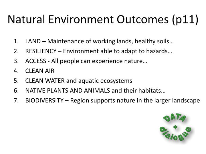 Natural Environment Outcomes (p11)