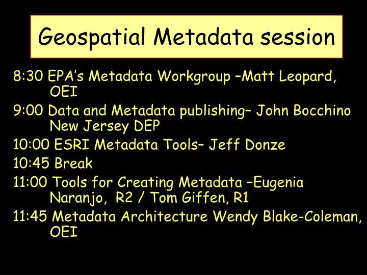 geospatial metadata session n.