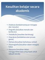 kesulitan belajar secara akademis