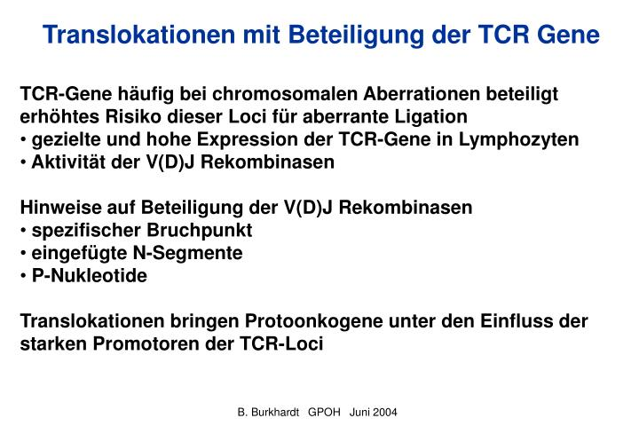 Translokationen mit Beteiligung der TCR Gene