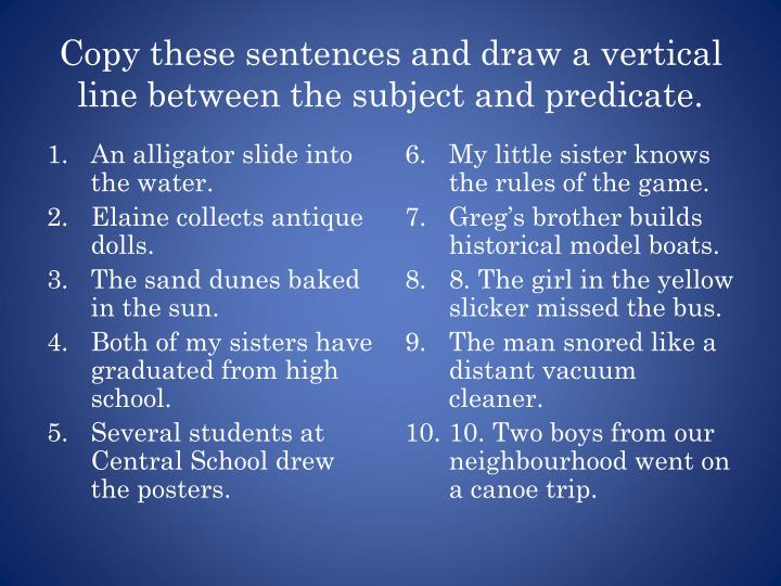 Copy these sentences and draw a vertical line between the subject and predicate.