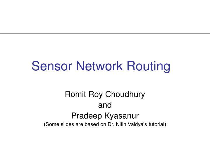 sensor network routing n.
