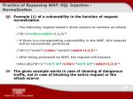 practice of bypassing waf sql injection normalization
