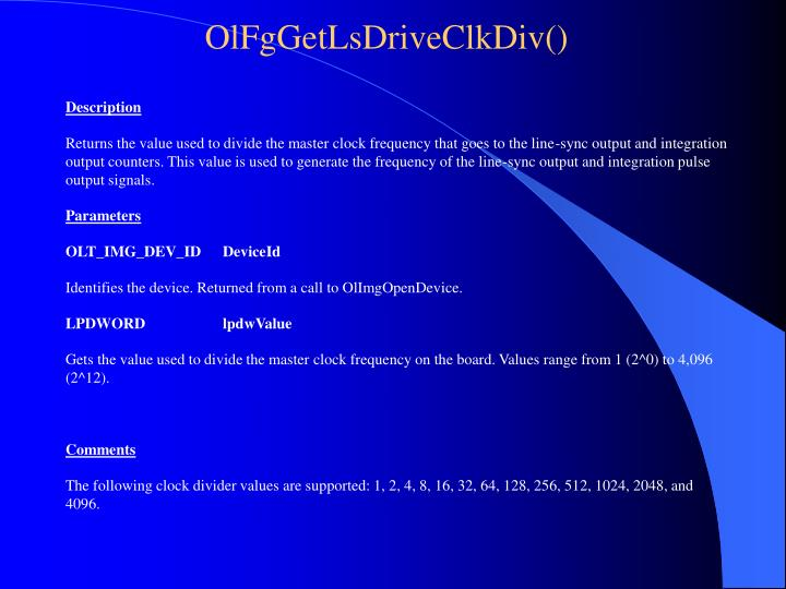 OlFgGetLsDriveClkDiv()