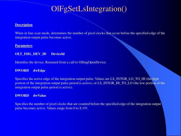 OlFgSetLsIntegration()