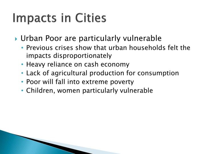 Impacts in cities1