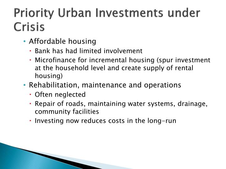 Priority Urban Investments under Crisis