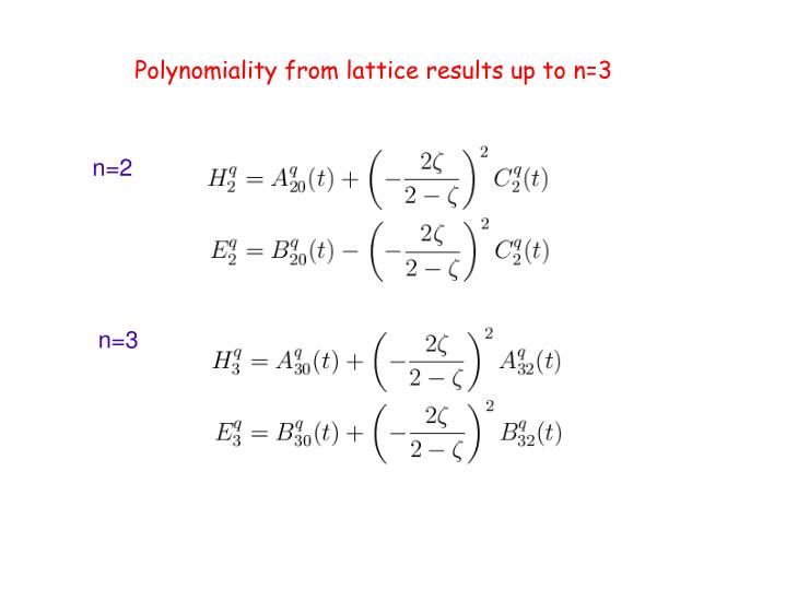 Polynomiality from lattice results up to n=3