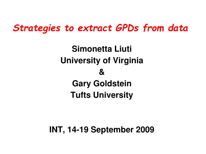 Strategies to extract gpds from data