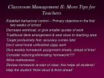 classroom management ii more tips for teachers