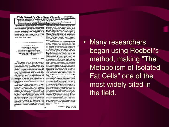 "Many researchers began using Rodbell's method, making ""The Metabolism of Isolated Fat Cells"" one of the most widely cited in the field."