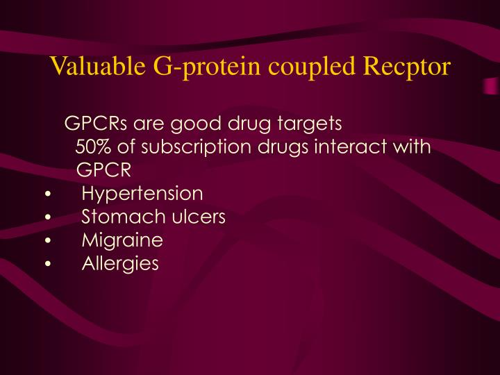 Valuable G-protein coupled Recptor