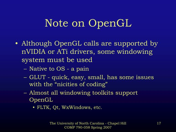 Note on OpenGL