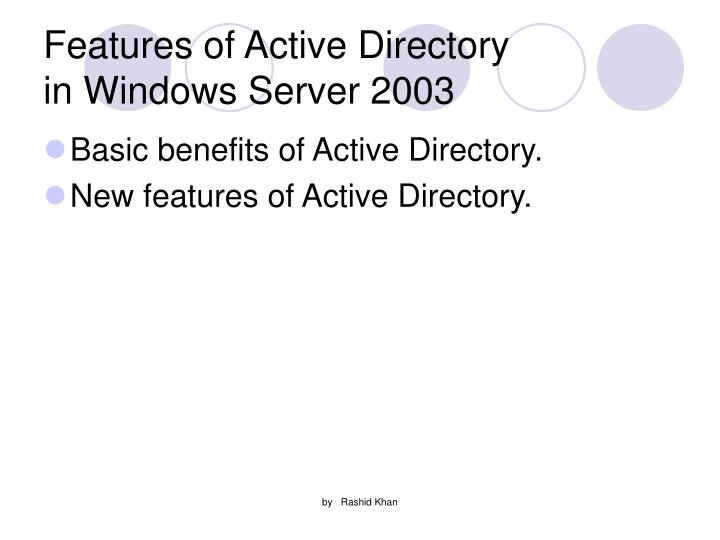 Features of Active Directory