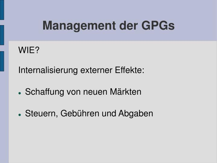 Management der GPGs