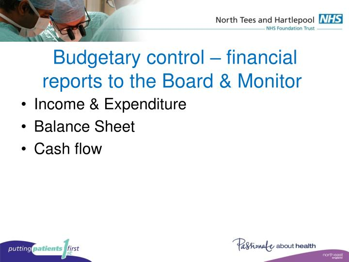 Budgetary control – financial reports to the Board & Monitor