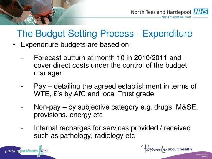 The Budget Setting Process - Expenditure