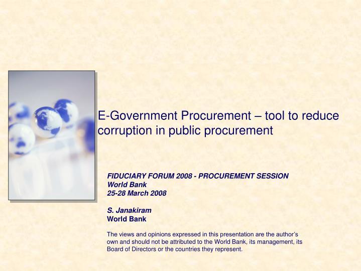 e government procurement tool to reduce corruption in public procurement n.