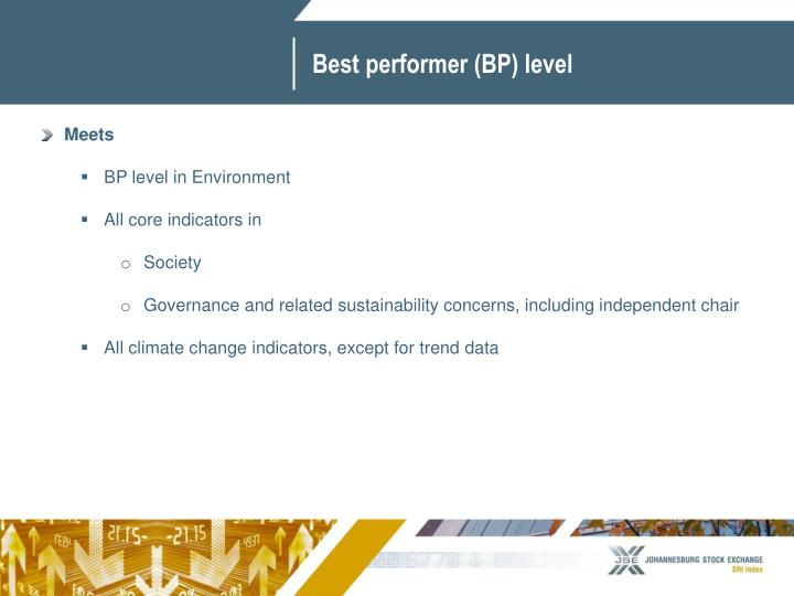 Best performer (BP) level