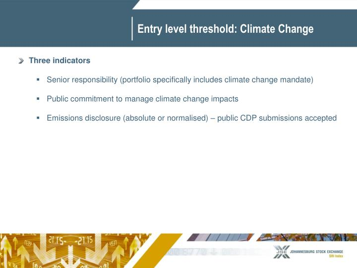 Entry level threshold: Climate Change