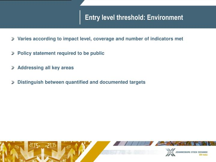 Entry level threshold: Environment