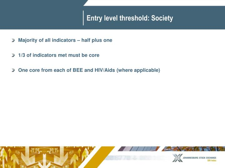 Entry level threshold: Society