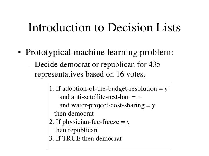 Introduction to Decision Lists