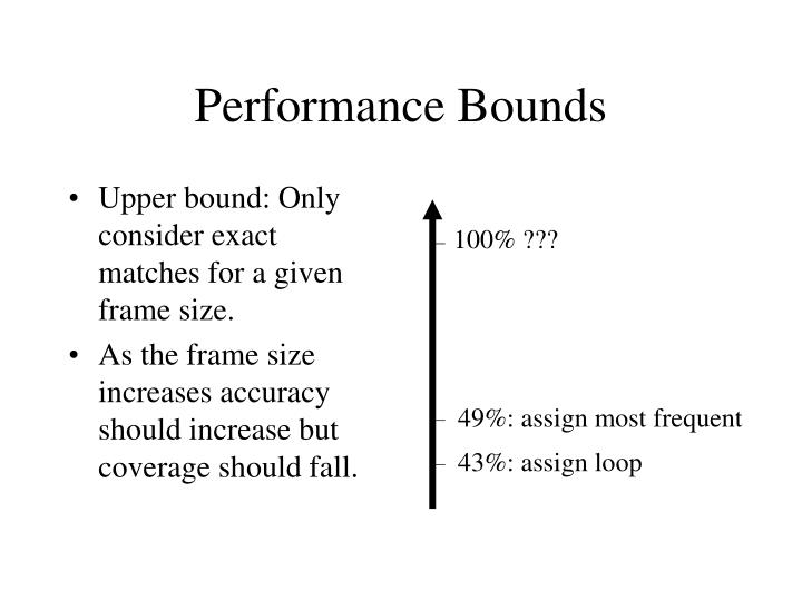 Upper bound: Only consider exact matches for a given frame size.