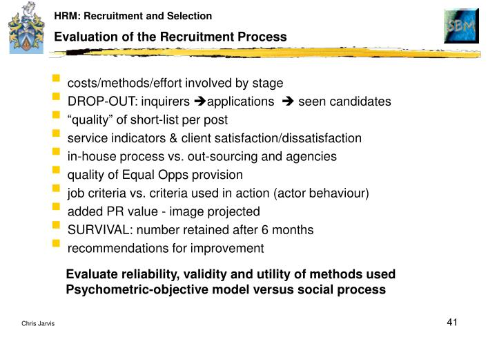 evaluation of the recruitment process As mentioned above, recruiting is a major facet of the recruitment process #6—(telephone) screening sure, you have a batch of viable candidates, most likely passive candidates, who are interested in the position.