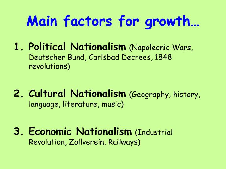 Main factors for growth