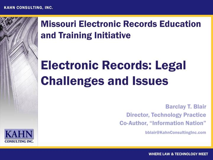 electronic records legal challenges and issues n.