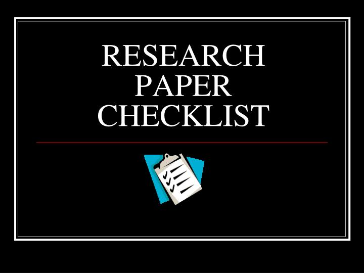 research paper checklist n.
