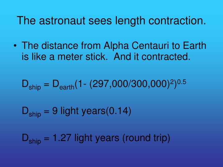 The astronaut sees length contraction.