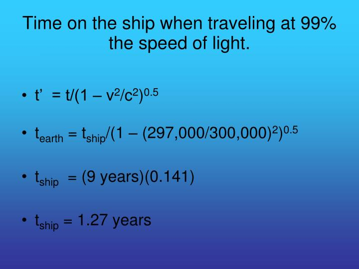 Time on the ship when traveling at 99 the speed of light
