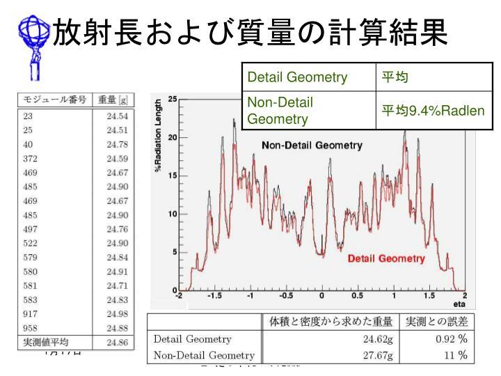 放射長および質量の計算結果