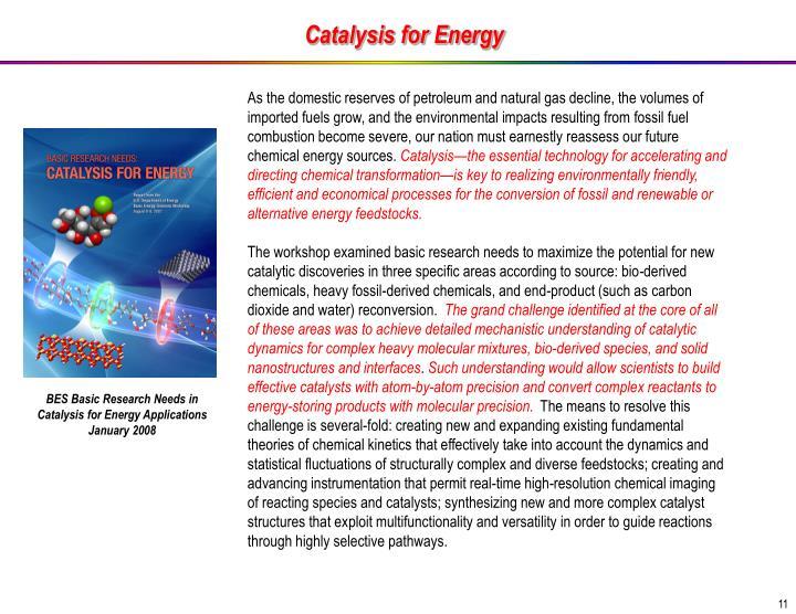Catalysis for Energy