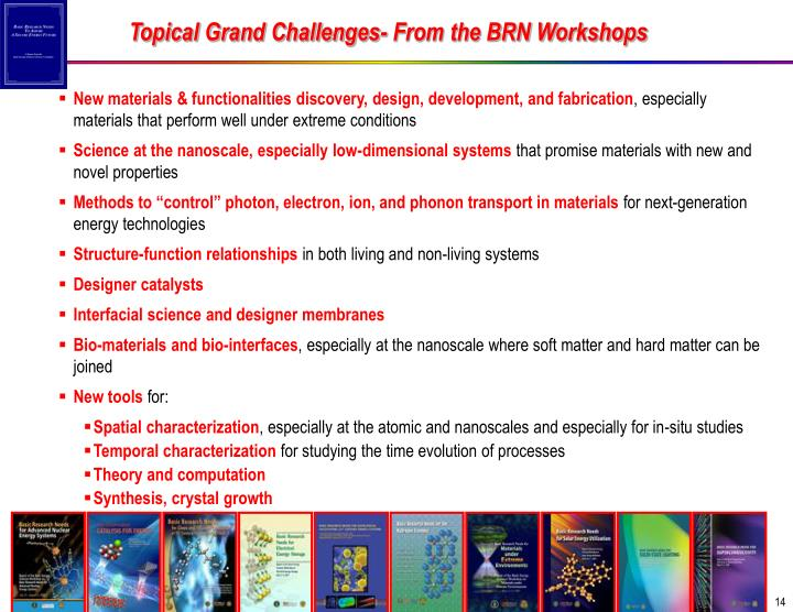 Topical Grand Challenges- From the BRN Workshops