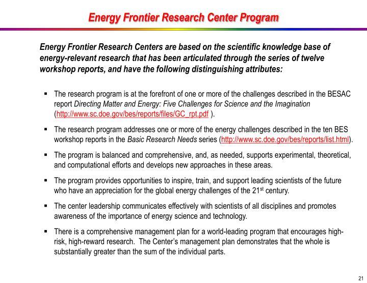 Energy Frontier Research Center Program