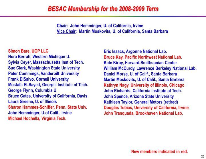 BESAC Membership for the 2008-2009 Term