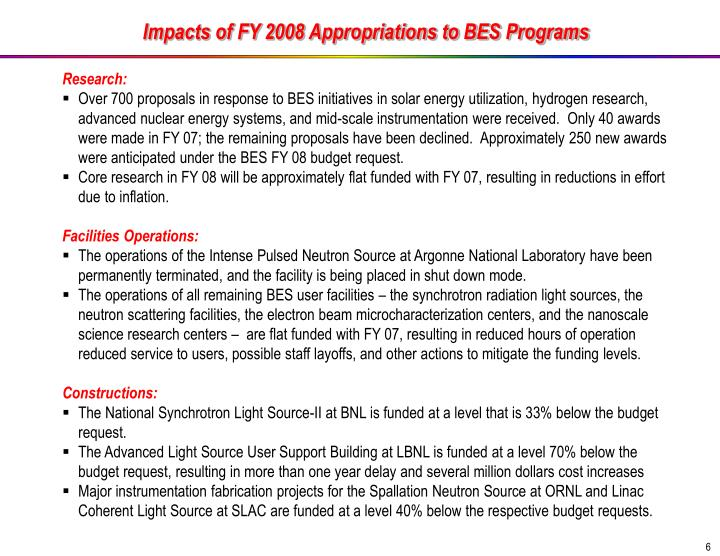 Impacts of FY 2008 Appropriations to BES Programs